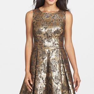Eliza J Metallic Jacquard Fit & Flare Dress